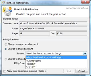 Selecting an account using the PaperCut standard client popup