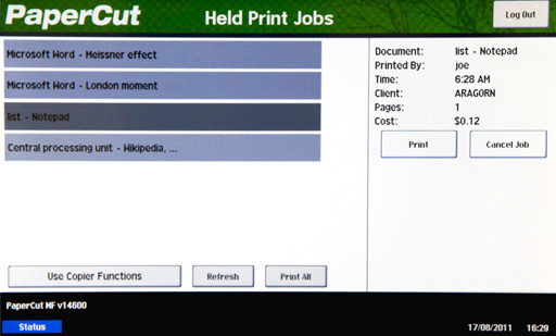 Using a Olivetti MFD for print release