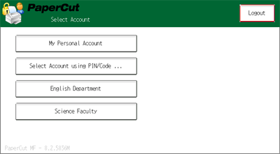 Selecting an account using the PaperCut Nashuatec embedded application