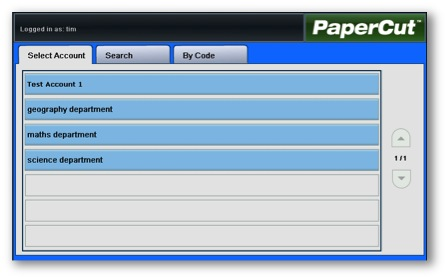 Selecting an account using the PaperCut Xerox embedded application