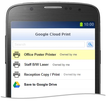 Google Cloud Print Printer List