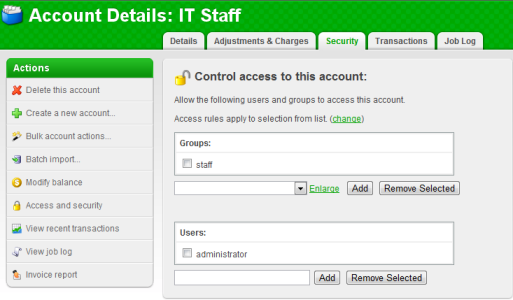 Shared account access control by group or user