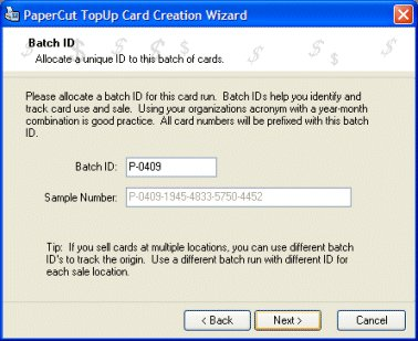 Assigning a batch id in the card wizard