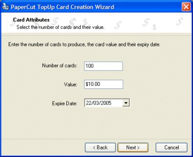 Entering card details in the card wizard