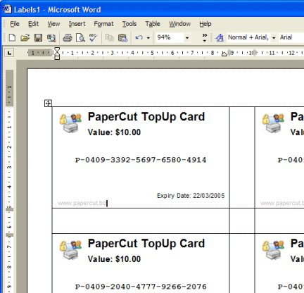 Cards laid out in MS Word