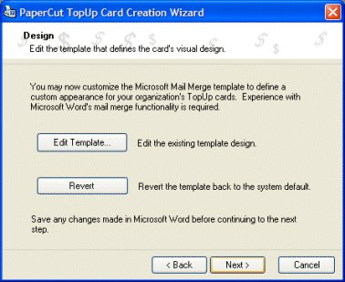 Choosing a template in the card wizard