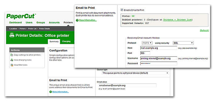 PaperCut's Email to Print - easy to integrate into your infrastructure