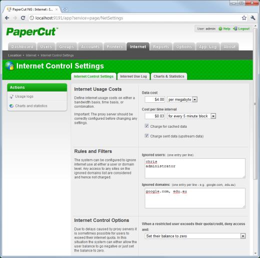 Control internet usage
