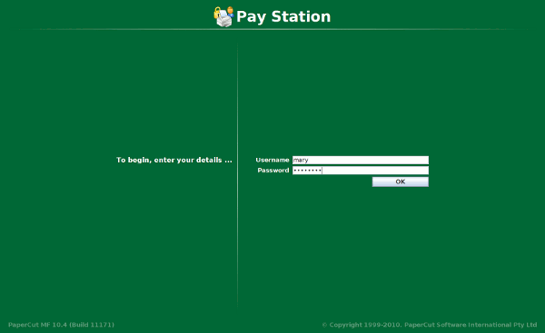Logging into the PaperCut pay station software