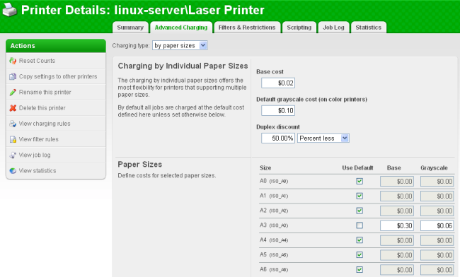 Defining printer cost settings per page size