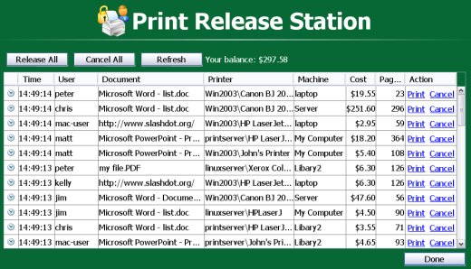 Print release station software showing the list of held jobs