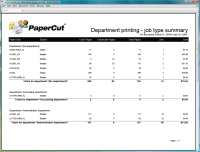 Report: Department Printing - Job Type Summary