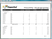 Report: Group Printing - User Job Type Summary