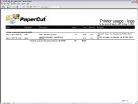 Report: Printer Usage - Log