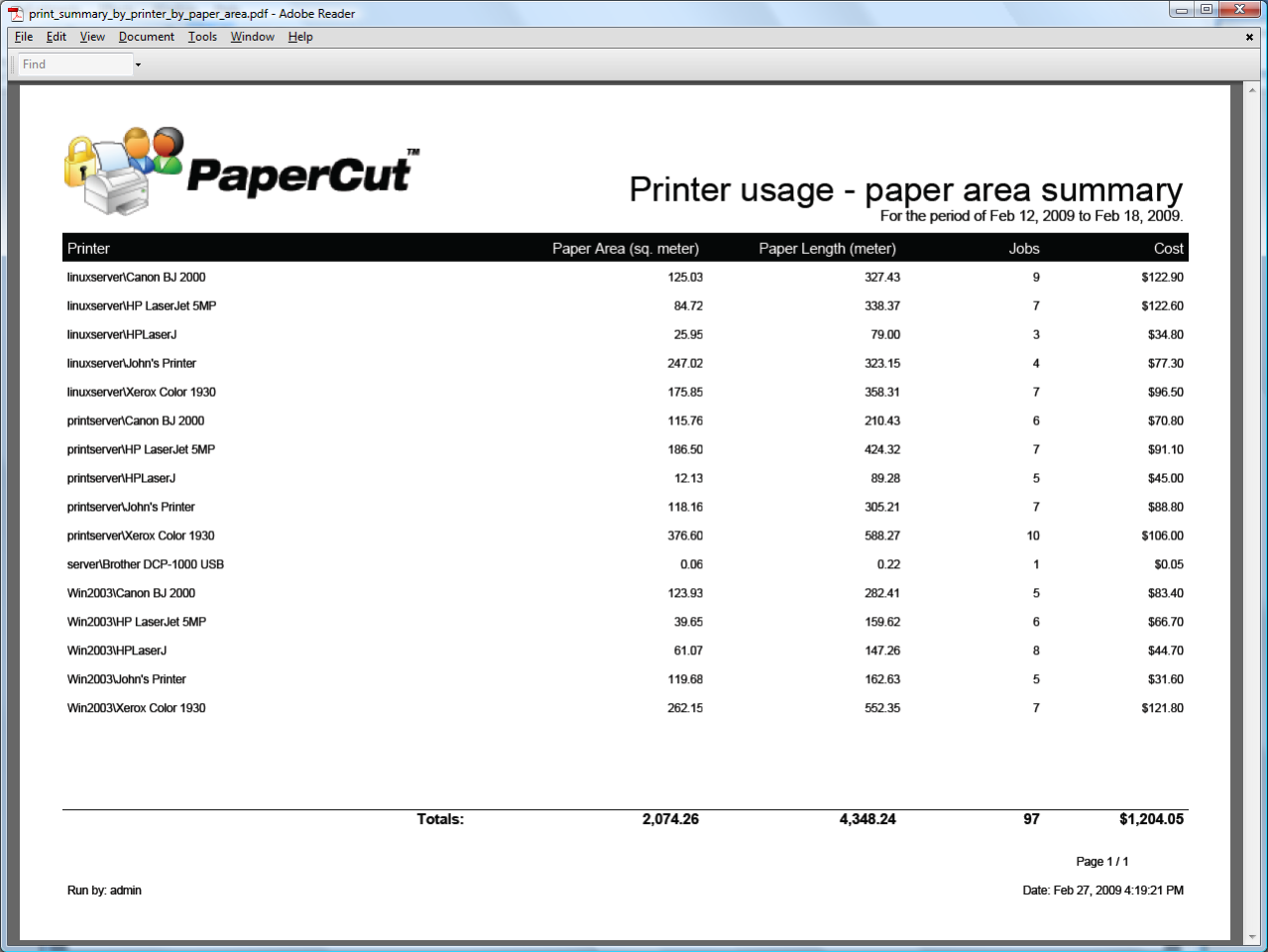 Reporting in detail for Printer paper size