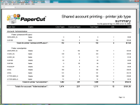 Report: Shared Account Printing - Printer Job Type Summary