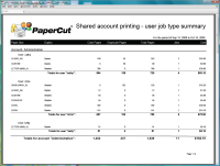 Report: Shared Account Printing - User Job Type Summary