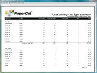 Report: User Printing - Job Type Summary