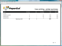 Report: User Printing - Printer Summary