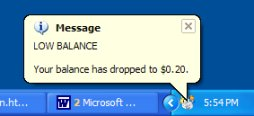 User client low balance notification message