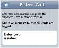 Mobile Redeem Card page - redeem a top-up/pre-paid card from a mobile device