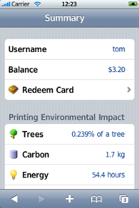 Mobile Summary page - print balance and environmental impact