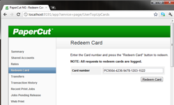 Redeeming a card from the user web interface