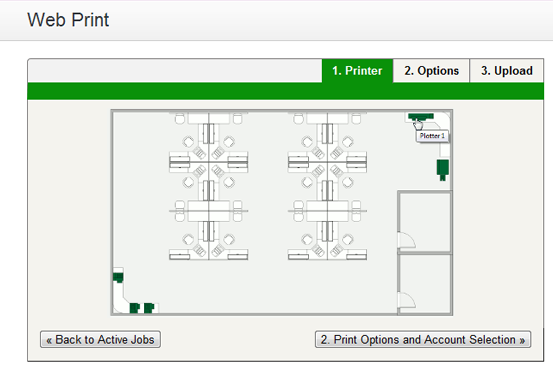 Web Print: printer selection map with a simple floor plan