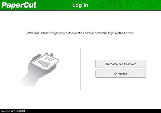Authentication with PaperCut on the Dell device.