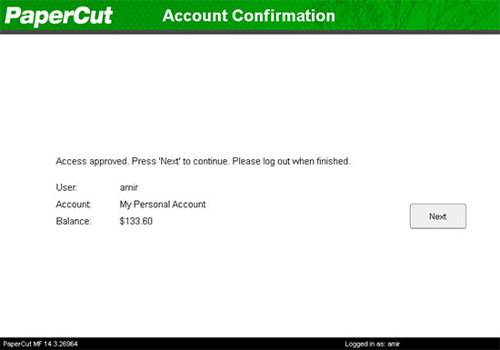 Account confirmation with PaperCut running on the Fuji Xerox device.