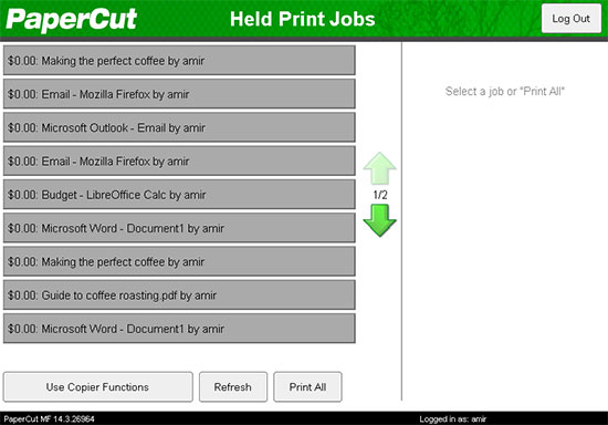 Held Print Jobs list shown by PaperCut running on the Fuji Xerox device.