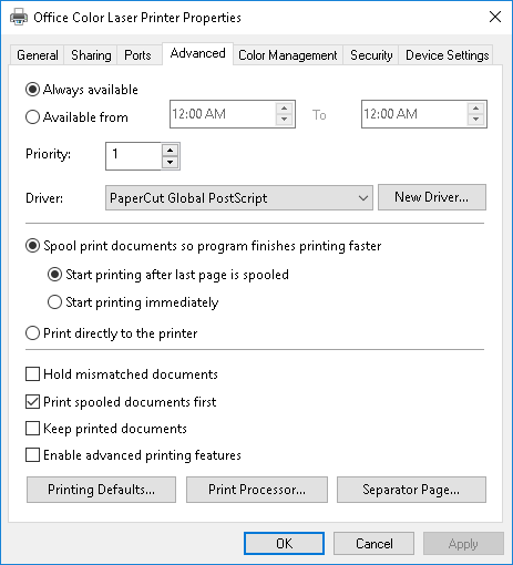 PaperCut KB | Windows Print Queue Configuration