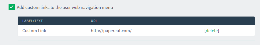 PaperCut admin screen to manage custom links