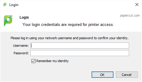PaperCut KB | Identity Vs Authentication Popup for PaperCut Client