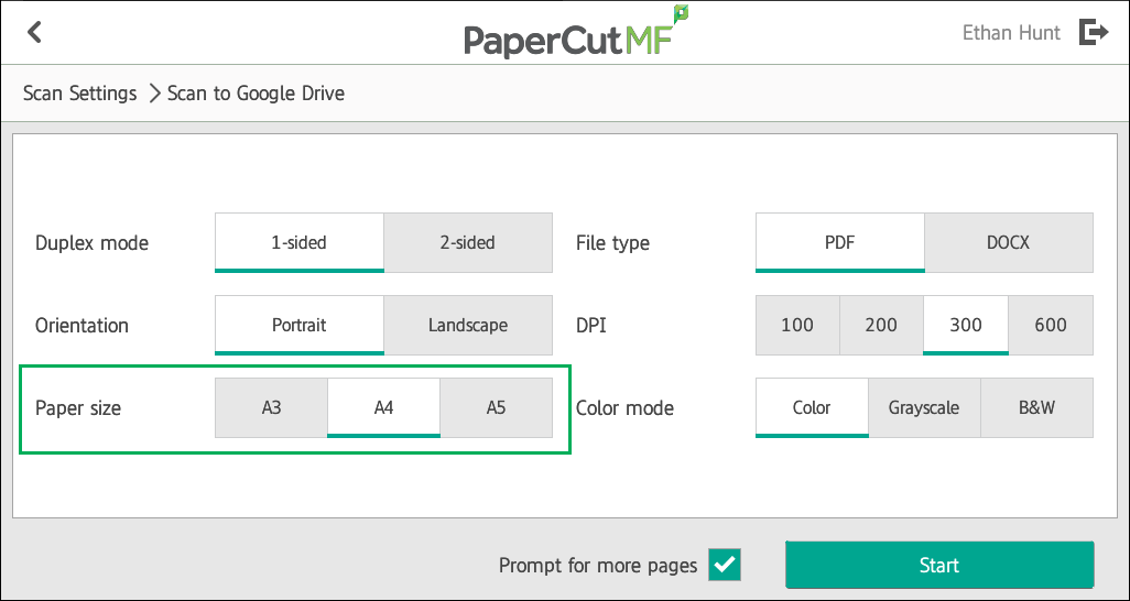 PaperCut KB | Configuring Paper Sizes with Integrated Scanning