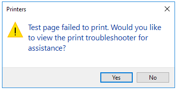 PaperCut KB | Error: Test Page failed to print