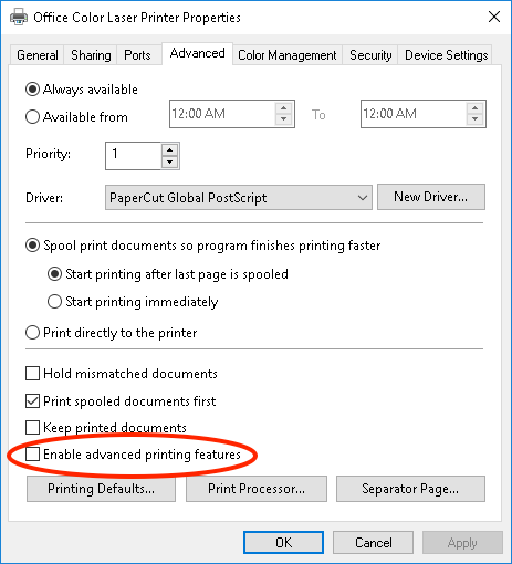 PaperCut KB | Disabling Advanced Printing Features