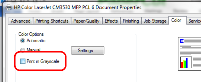 Its Based On The Users Selection Use Of Grayscale Or Black And White Only Option In Print Preferences Panel