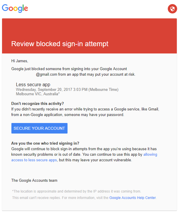 PaperCut KB | Email to Print Gmail blocked sign-in attempt