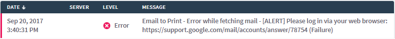 Error Log Email to Print
