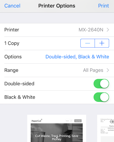 the same goes for duplexing options if the driver itself doesnt support duplex users may still see the option to print double sided from their ios