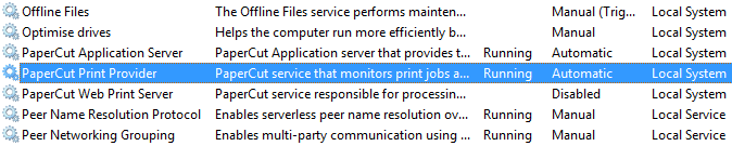 Services panel in Windows, showing the PaperCut Print Provider Service highlighted