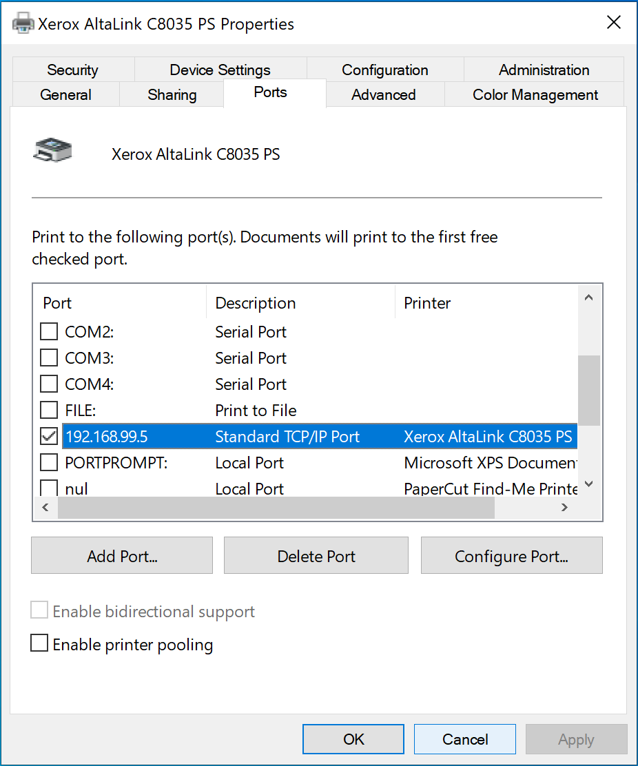 Port number on Printer Properties page