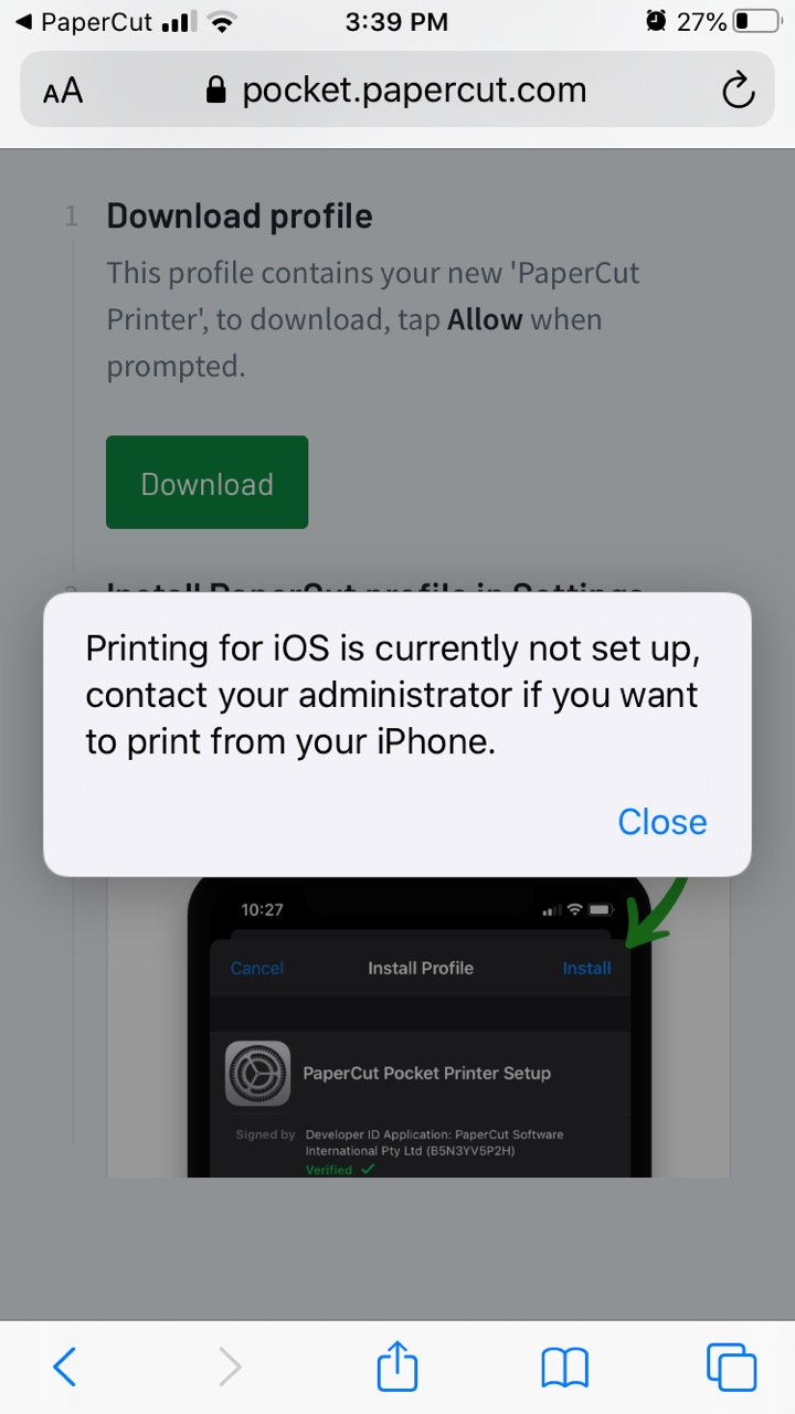 The end-user error message when iOS printing has not been configured