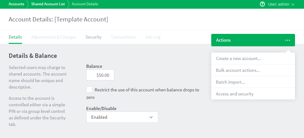create a shared account
