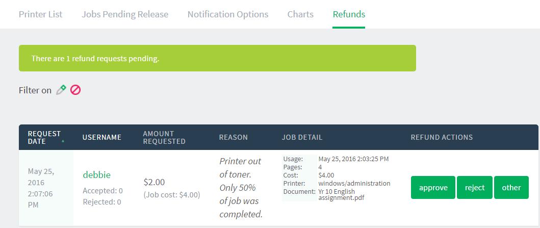 Refund print jobs