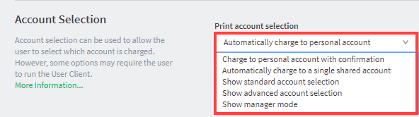 Account selection