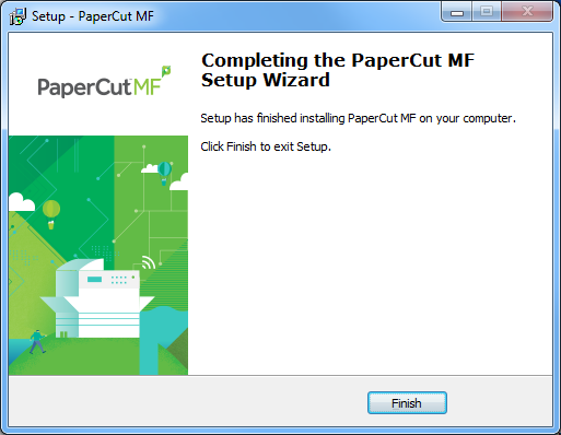 Install the direct print monitor on a windows computer when the installation is complete the completing the papercut setup wizard screen is displayed publicscrutiny Choice Image