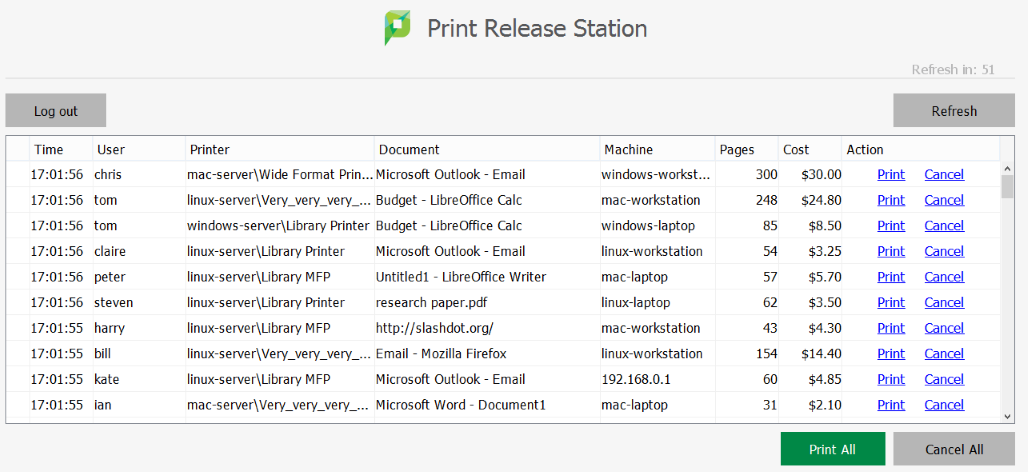 The PaperCut Print Release Station interface
